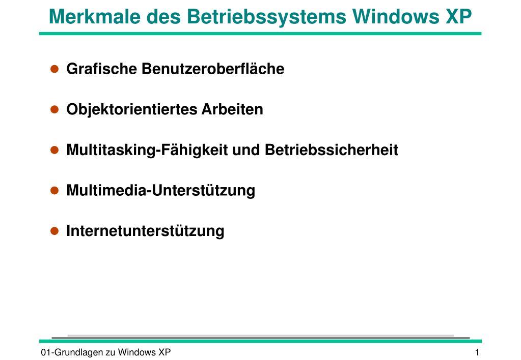 merkmale des betriebssystems windows xp l.