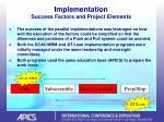 implementation success factors and project elements