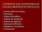 elementos que intervienen en los recubrimientos metalicos