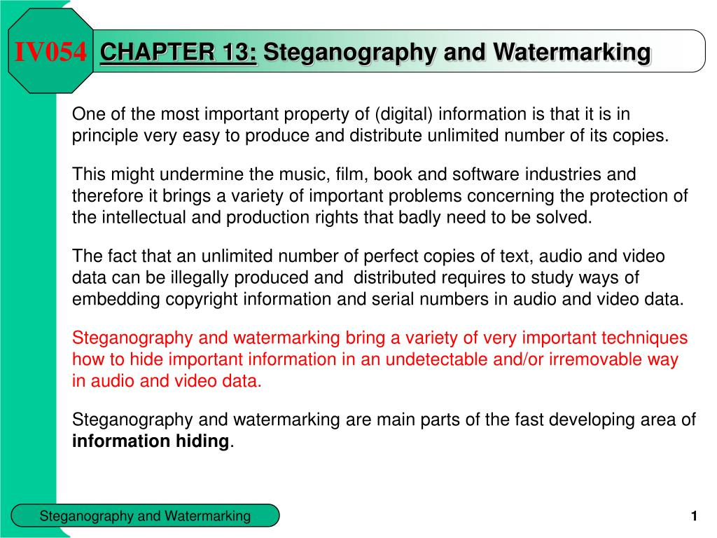 chapter 1 3 steganography and watermarking l.