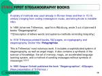 first steganography books