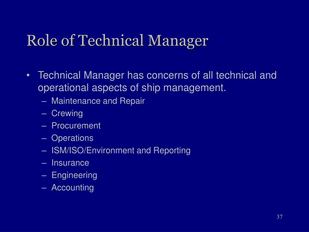 Role of Technical Manager