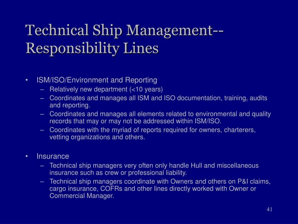 Technical Ship Management--Responsibility Lines