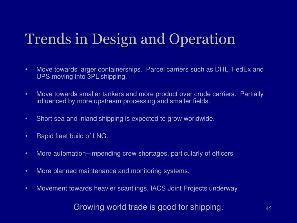 Trends in Design and Operation