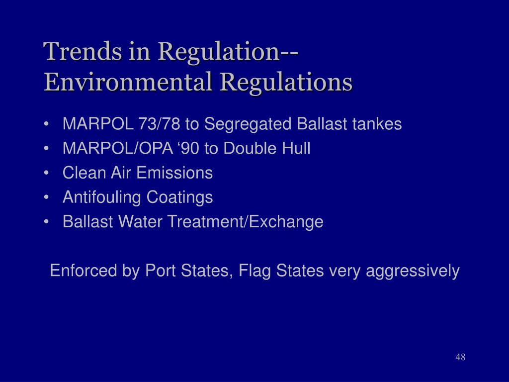 Trends in Regulation--Environmental Regulations