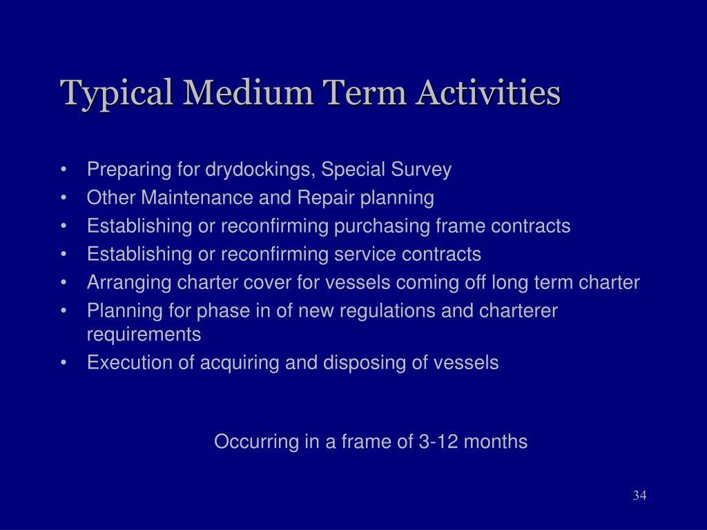 Typical Medium Term Activities