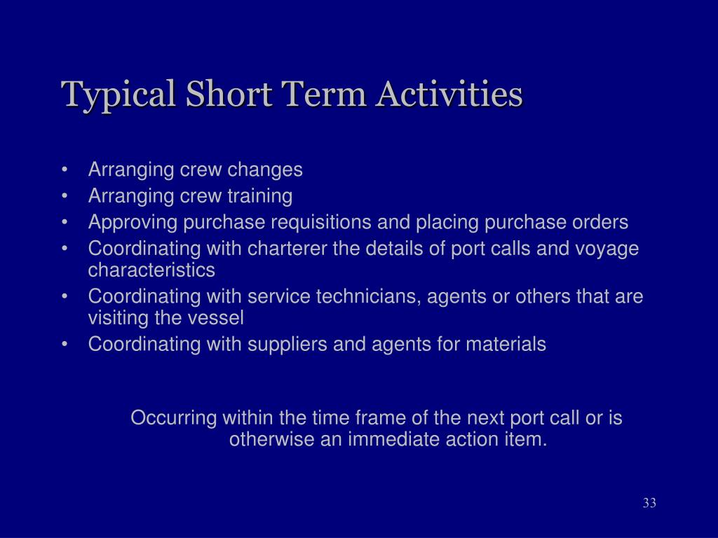 Typical Short Term Activities