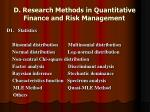 d research methods in quantitative finance and risk management