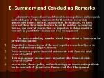 e summary and concluding remarks