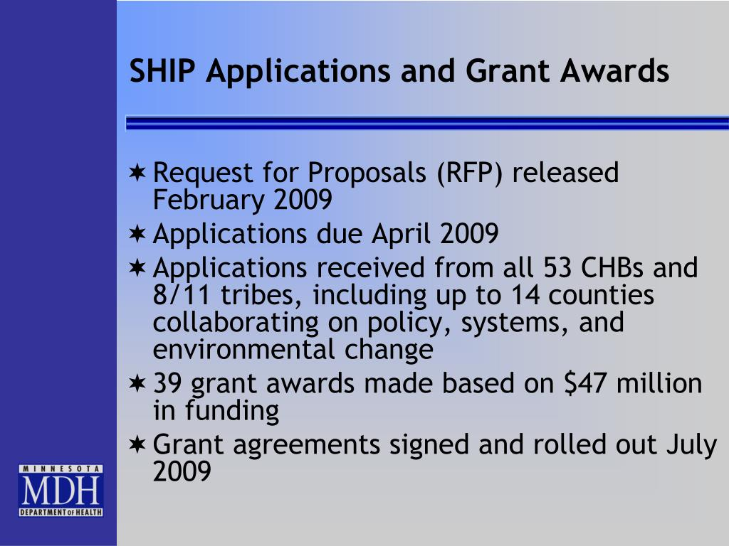 SHIP Applications and Grant Awards