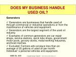 does my business handle used oil