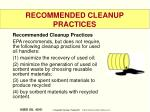 recommended cleanup practices