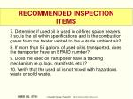 recommended inspection items57
