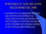 portaria n 1469 de 29 de dezembro de 2000