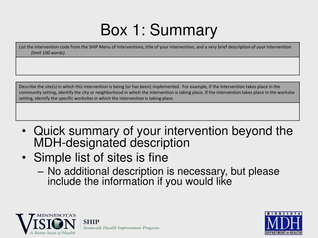 Box 1: Summary