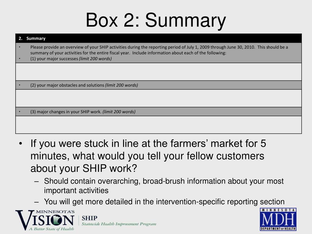Box 2: Summary