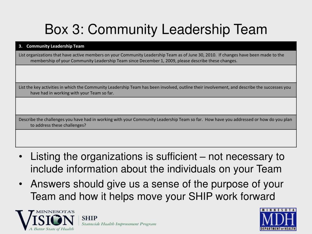 Box 3: Community Leadership Team