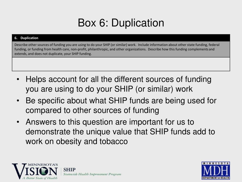 Box 6: Duplication