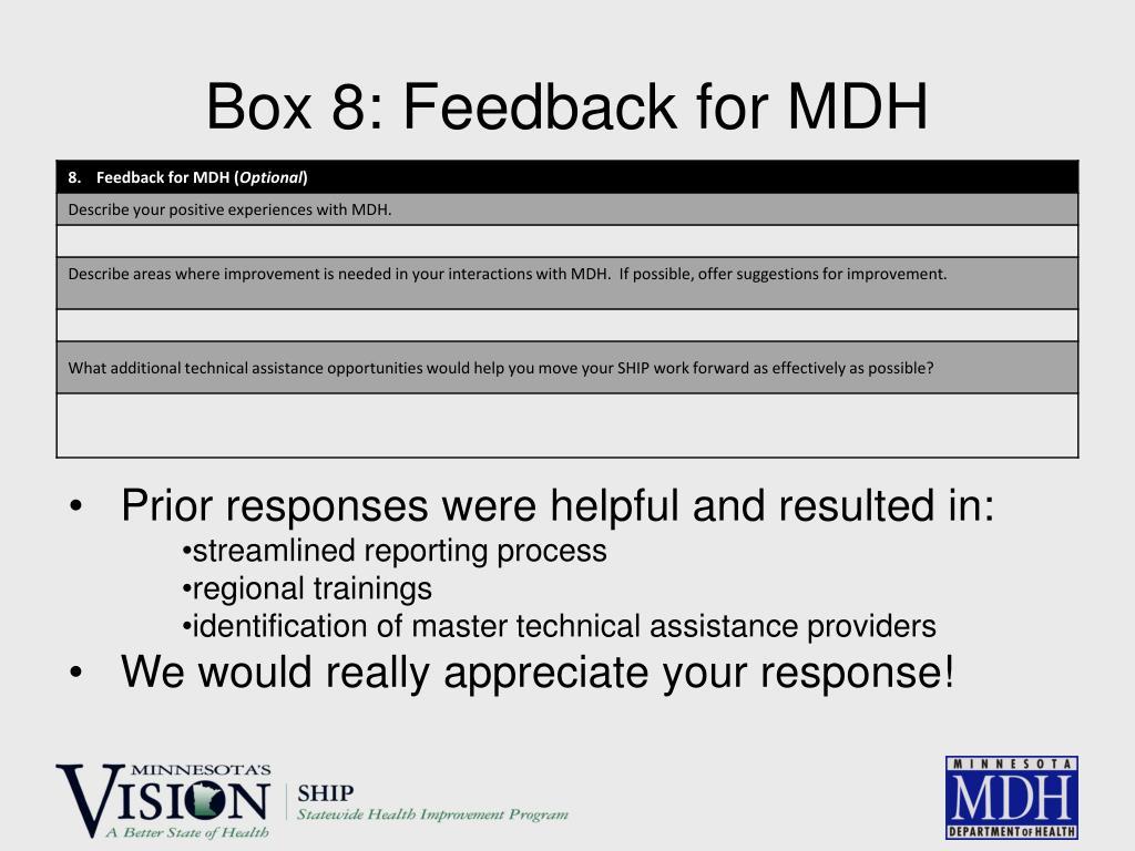 Box 8: Feedback for MDH