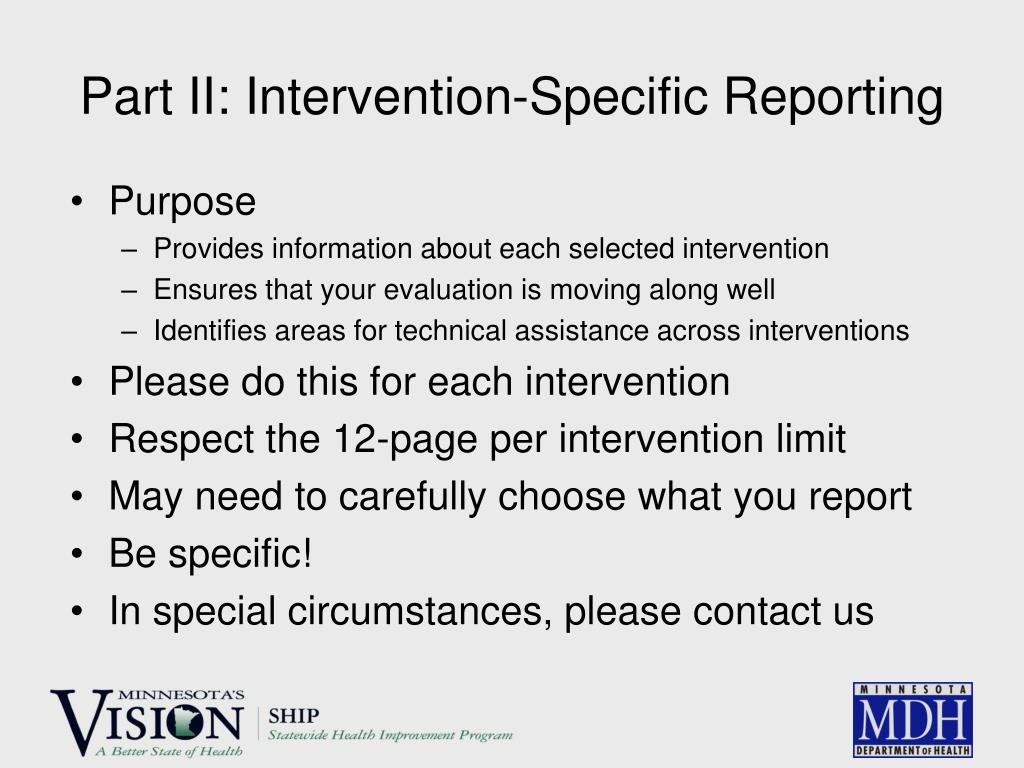 Part II: Intervention-Specific Reporting