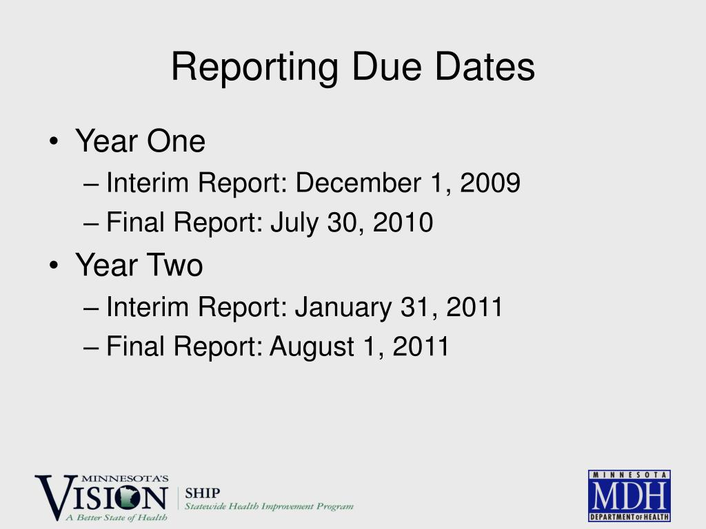 Reporting Due Dates