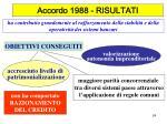 accordo 1988 risultati