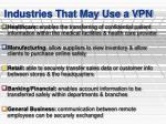 industries that may use a vpn