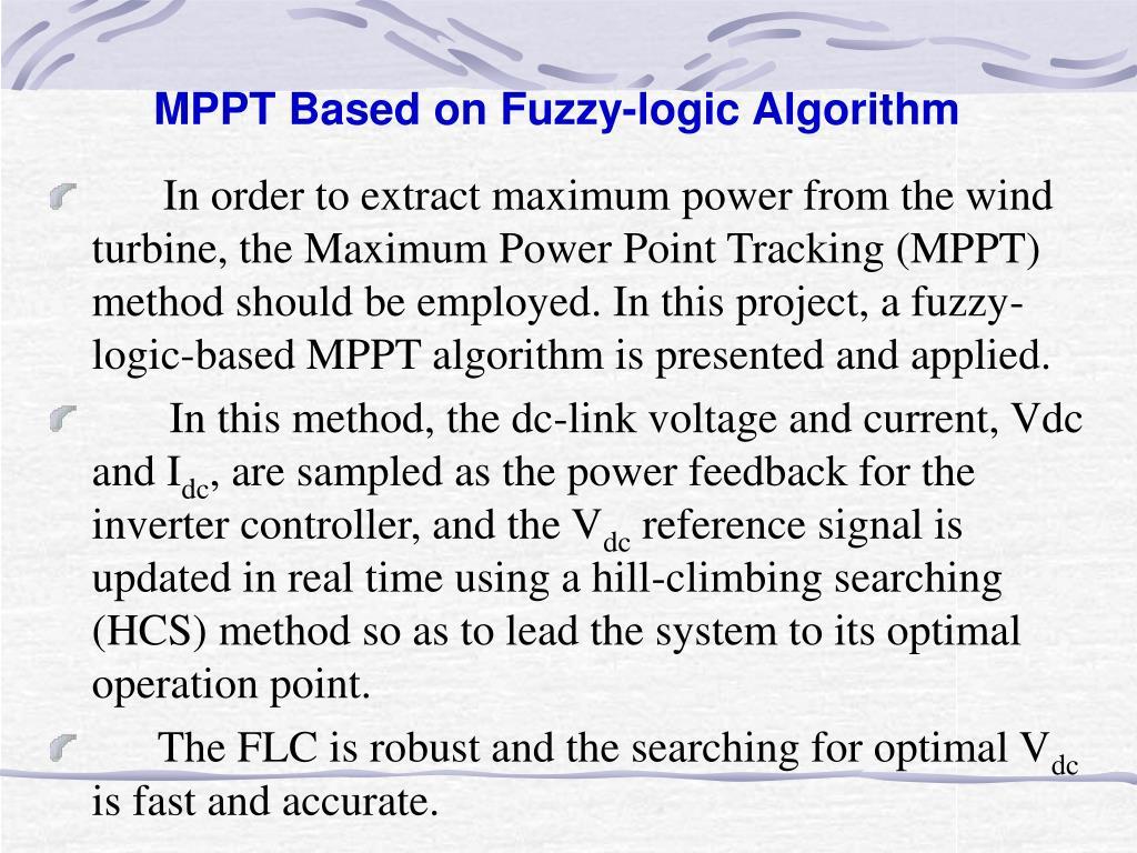MPPT Based on Fuzzy-logic Algorithm