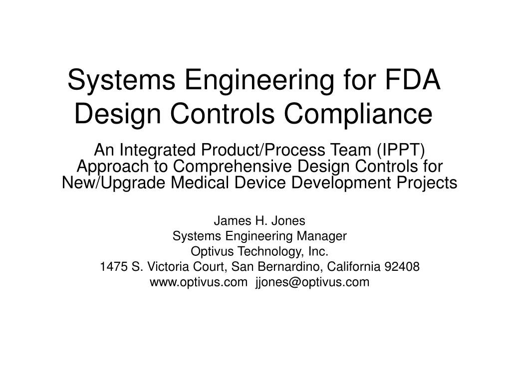 systems engineering for fda design controls compliance l.