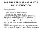 possible frameworks for implementation