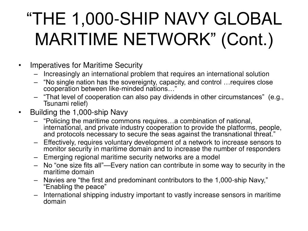 """""""THE 1,000-SHIP NAVY GLOBAL MARITIME NETWORK"""" (Cont.)"""