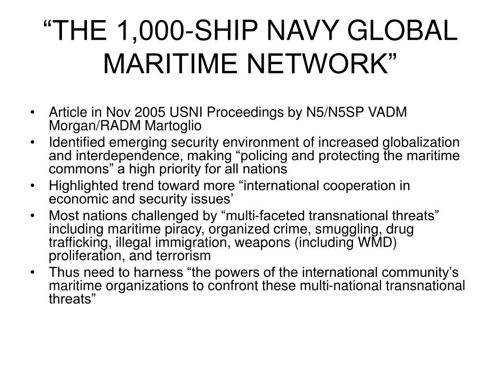 """""""THE 1,000-SHIP NAVY GLOBAL MARITIME NETWORK"""""""