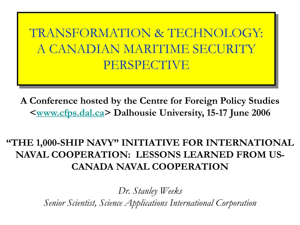 transformation technology a canadian maritime security perspective l.