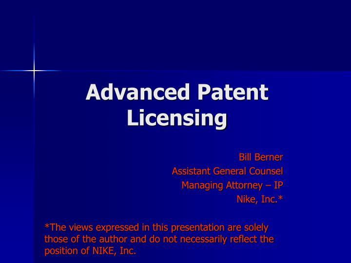 advanced patent licensing n.