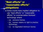 best efforts or reasonable efforts obligations