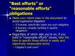 best efforts or reasonable efforts obligations35
