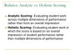 rubrics analytic vs holistic scoring