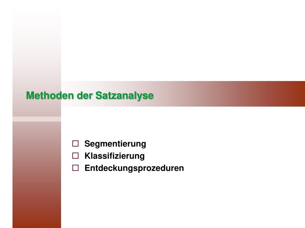 methoden der satzanalyse l.