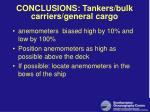conclusions tankers bulk carriers general cargo
