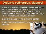 orticaria colinergica diagnosi