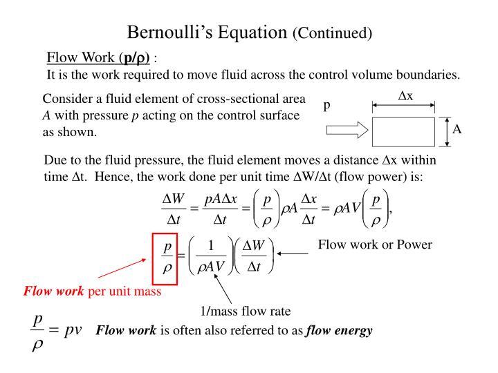 Bernoulli s equation continued