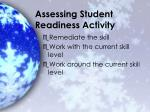 assessing student readiness activity