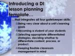 introducing a di lesson planning template