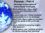planner part 4 develop a repertoire of instructional strategies