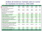 an lisis de tendencia ejemplo sobre la cuenta de resultados de acerinox 1995 2000
