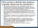 otros asuntos a abordar para asegurar la gesti n efectiva de los uterot nicos