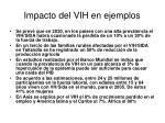 impacto del vih en ejemplos