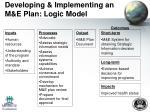 developing implementing an m e plan logic model