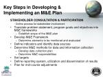 key steps in developing implementing an m e plan