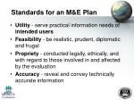 standards for an m e plan